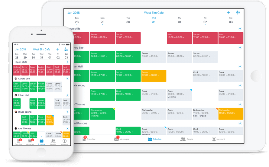 Planday schedule on mobile and desktop