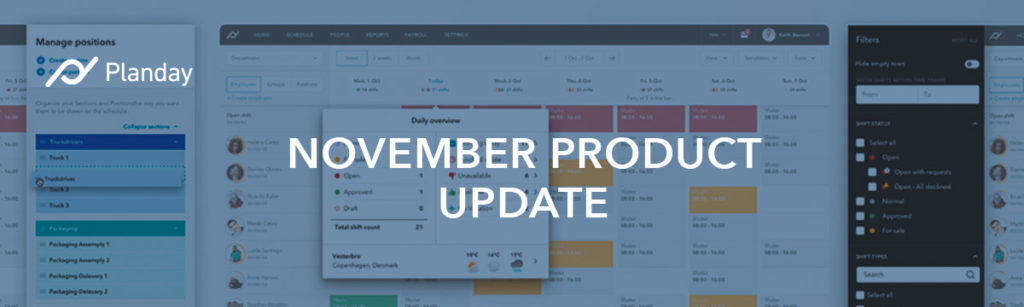 Planday's November Product Roundup