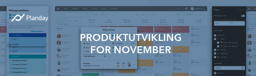 Oversikt over produktutviklingen for november