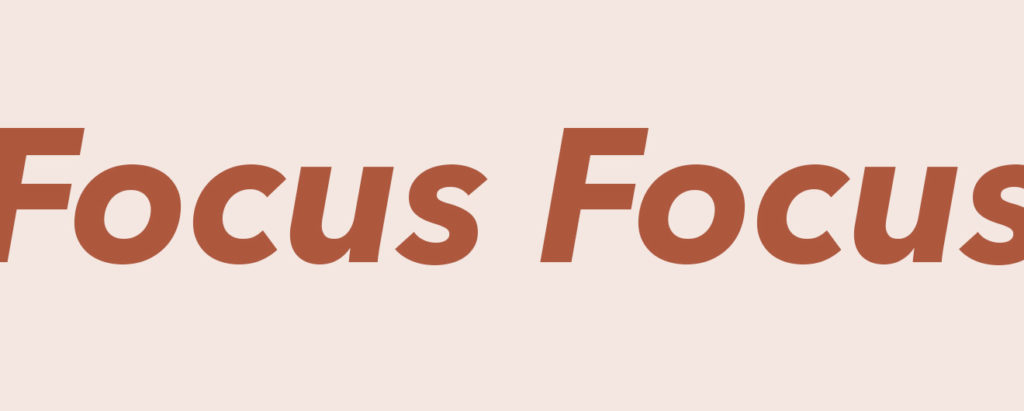 Focus word on coloured background