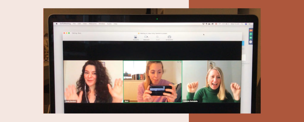 Holly Samimi on a video meeting with colleagues