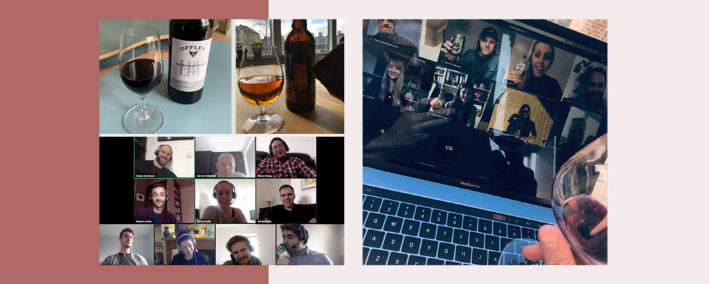 Virtual friday bar examples from Planday team