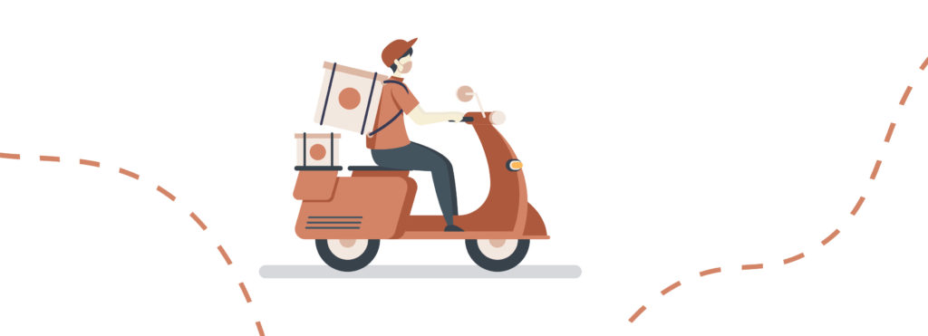 Illustration of delivery guy on scooter