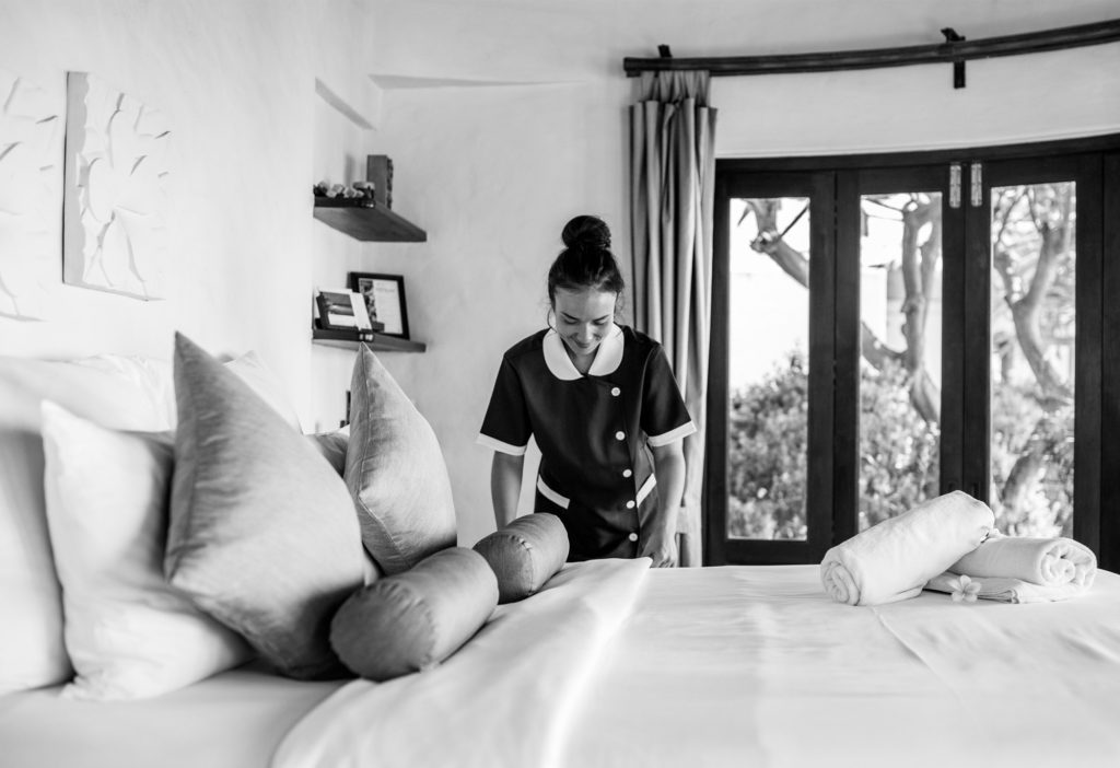 Girl hotel staff working