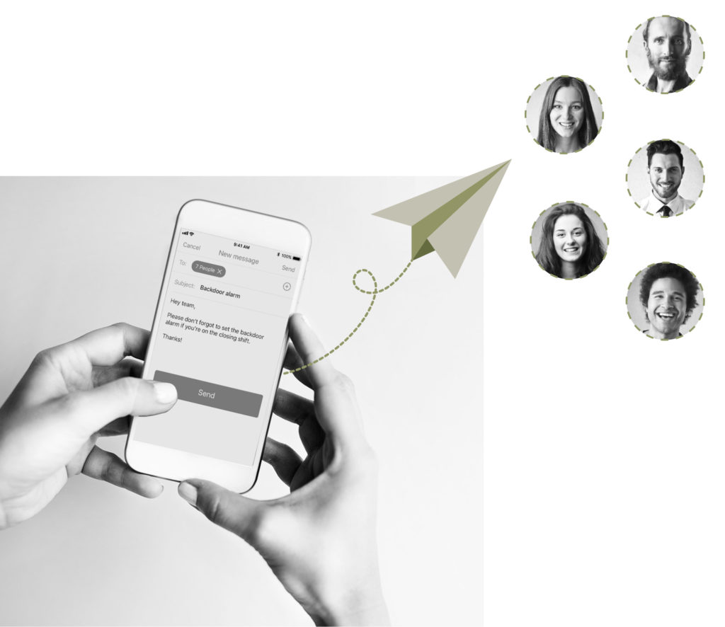 Text message to multiple people illustration